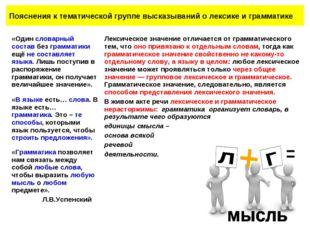 Пояснения к тематической группе высказываний о лексике и грамматике