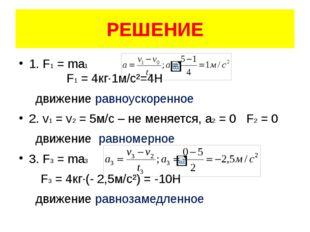 РЕШЕНИЕ 1. F1 = ma1 F1 = 4кг·1м/с²=4Н движение равноускоренное 2. v1 = v2 = 5