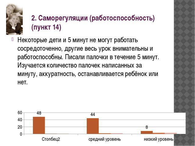 2. Саморегуляции (работоспособность) (пункт 14) Некоторые дети и 5 минут не м...