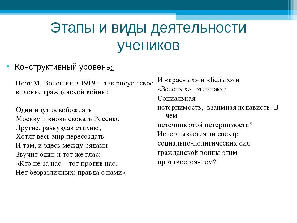 Этапы и виды деятельности учеников Конструктивный уровень: И «красных» и «Бел...