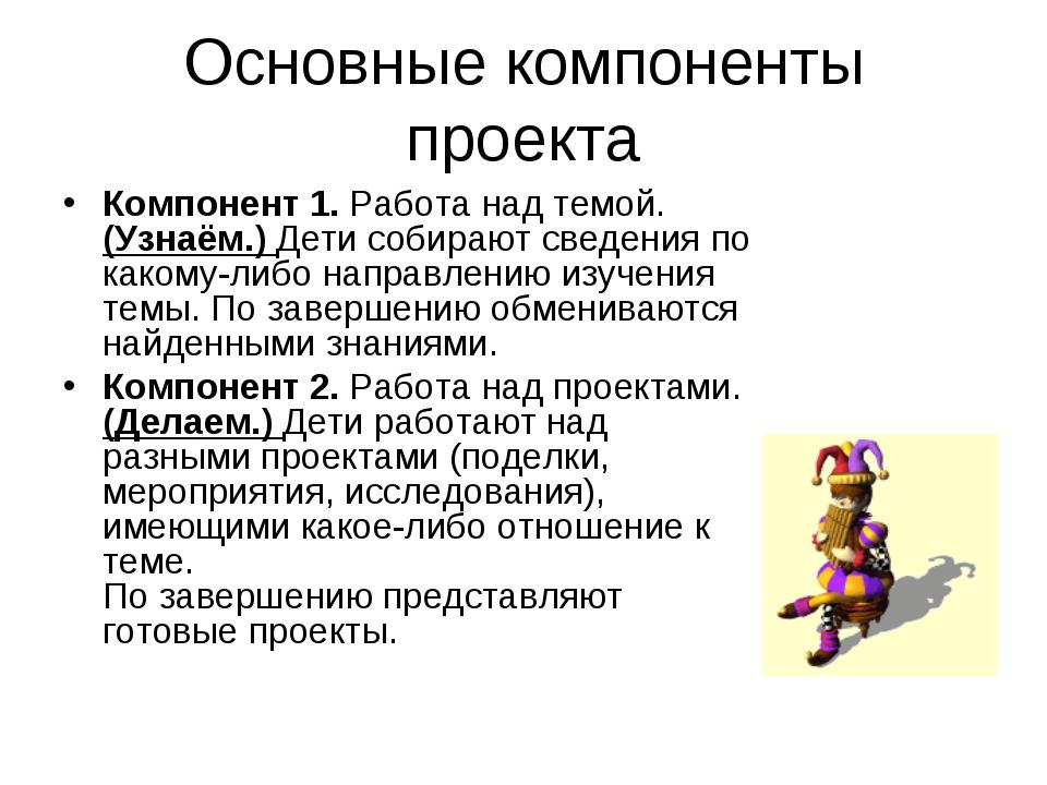 Основные компоненты проекта Компонент 1. Работа над темой. (Узнаём.) Дети соб...