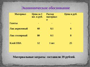 . Материальные затраты составили 39 рублей. Экономическое обоснование Материа