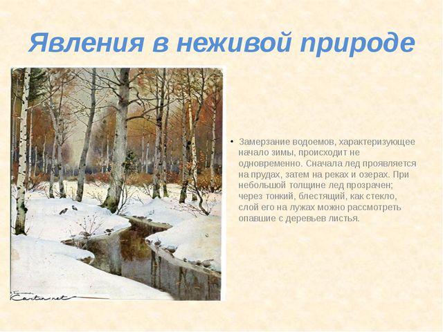 Явления в неживой природе Замерзание водоемов, характеризующее начало зимы, п...