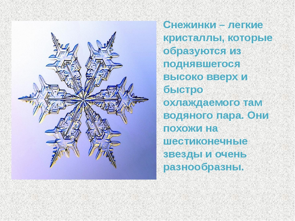 Снежинки – легкие кристаллы, которые образуются из поднявшегося высоко вверх...