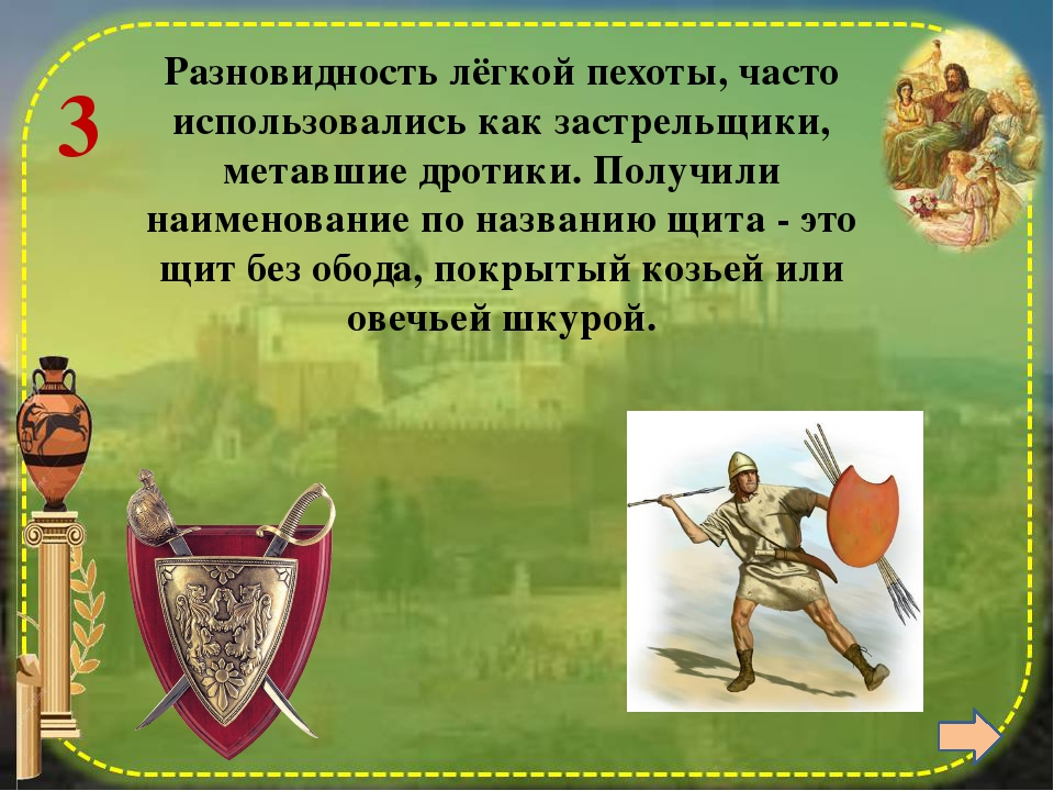 6 Гипасписты (буквально — щитоносцы) обычно размещались между фалангой и кон...