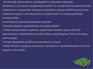 Для внешней оценки проекта рекомендуются следующие параметры: Значимость и а