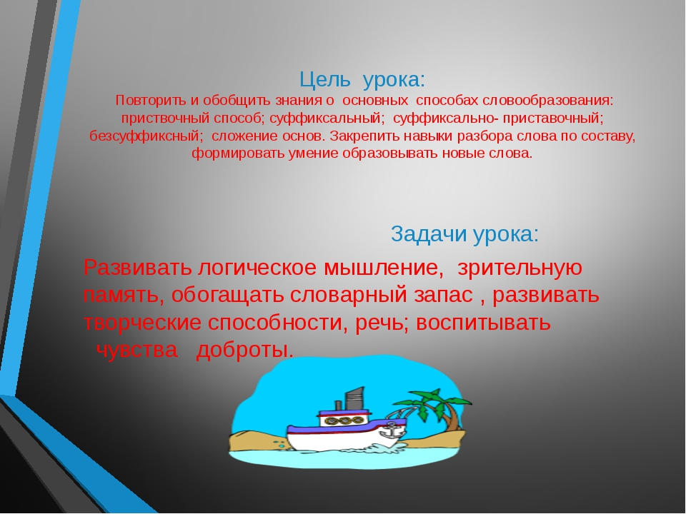 Цель урока: Повторить и обобщить знания о основных способах словообразования...