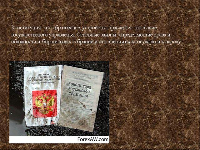 Конституция - это образованье, устройство правленья, основание государственог...