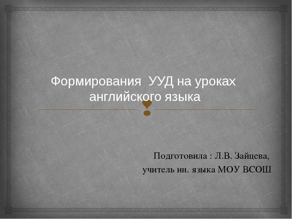 Формирования УУД на уроках английского языка Подготовила : Л.В. Зайцева, учит...