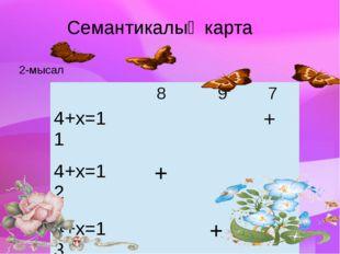 Семантикалық карта 2-мысал 8 9 7 4+х=11 + 4+х=12 + 4+х=13 +