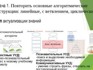 Этап актуализации знаний Задача 1. Повторить основные алгоритмические констр