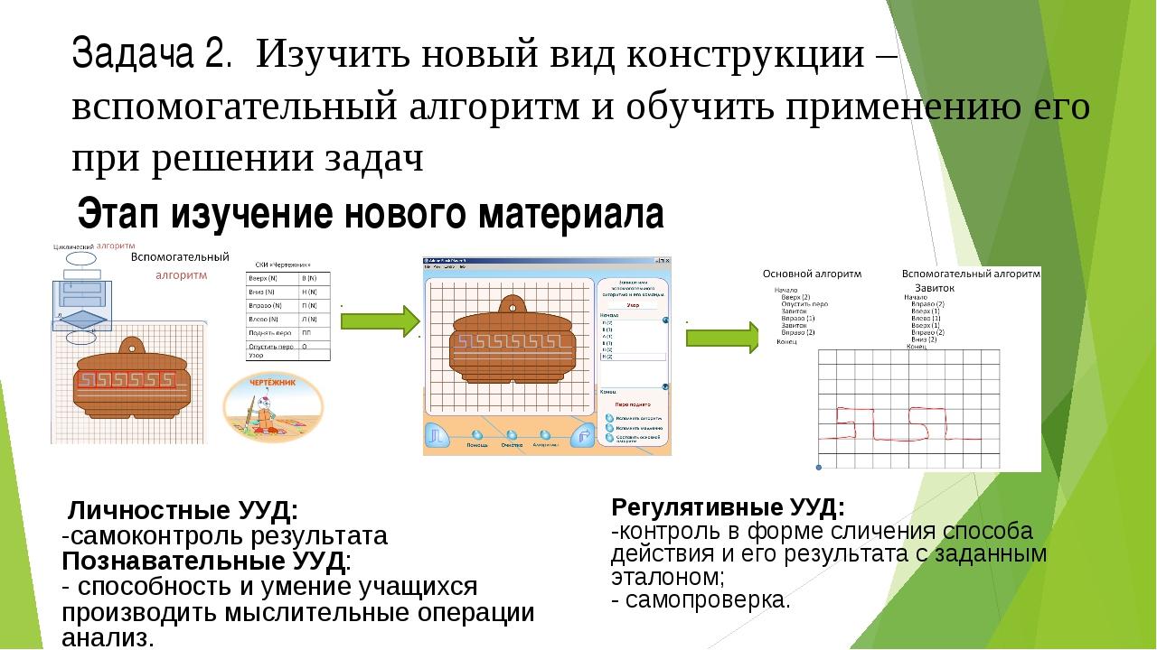 Этап изучение нового материала Задача 2. Изучить новый вид конструкции – вспо...