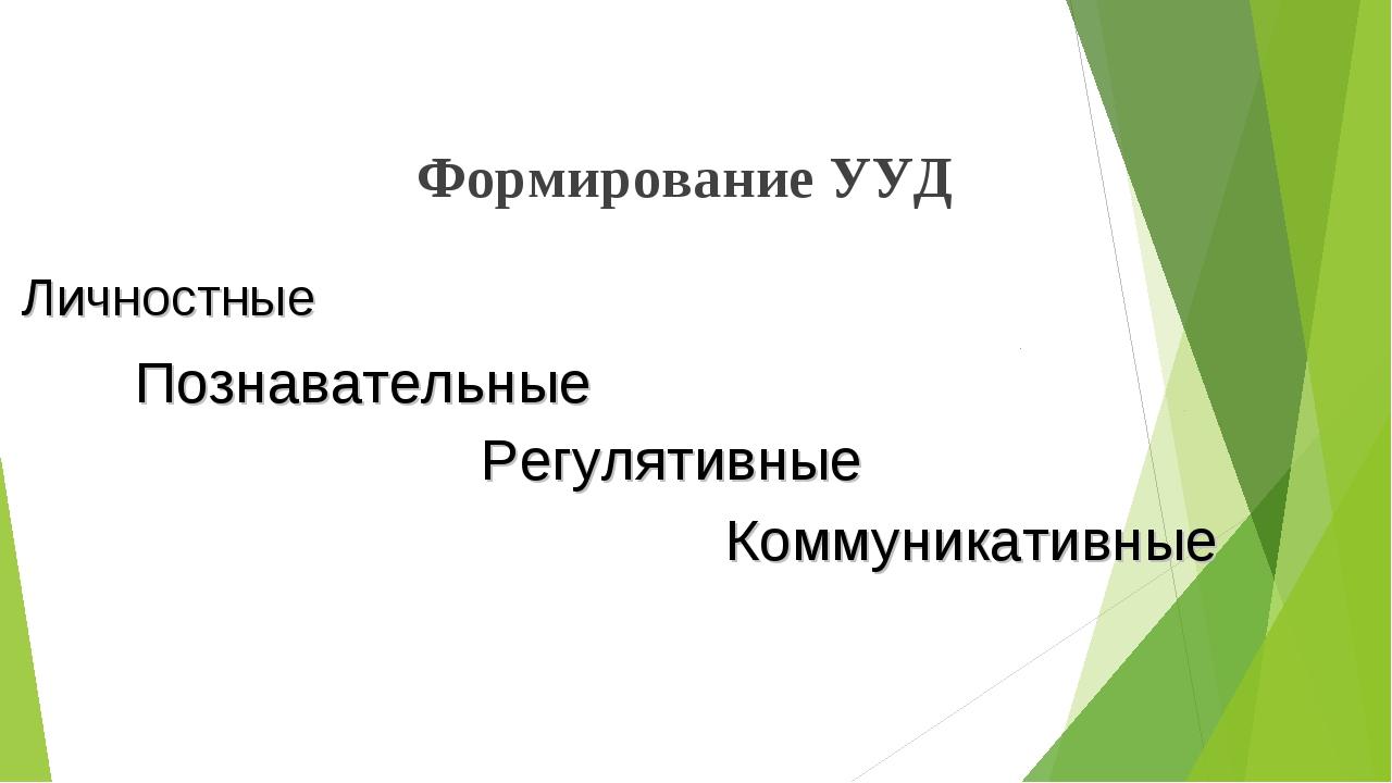Формирование УУД Личностные Познавательные Регулятивные Коммуникативные