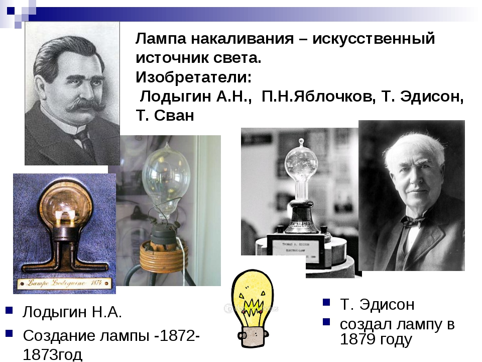 Лодыгин Н.А. Создание лампы -1872-1873год Т. Эдисон создал лампу в 1879 году...