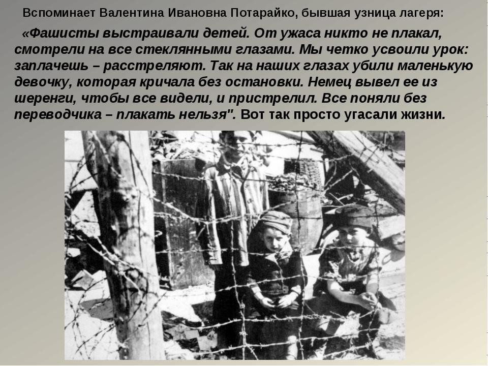 «Фашисты выстраивали детей. От ужаса никто не плакал, смотрели на все стекля...