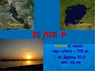 КҮЛЛӘР Ньяса күленең тирәнлеге – 706 м., ә мәйданы 30,8 мең.кв.км. Танганьик