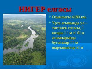 НИГЕР елгасы Озынлыгы 4180 км; Урта агымында ул – тигезлек елгасы, ә югары һә