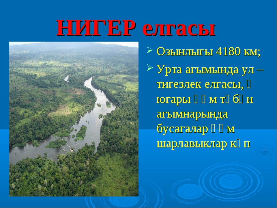 НИГЕР елгасы Озынлыгы 4180 км; Урта агымында ул – тигезлек елгасы, ә югары һә...