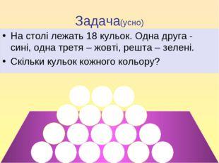 Задача(усно) На столі лежать 18 кульок. Одна друга - сині, одна третя – жовті