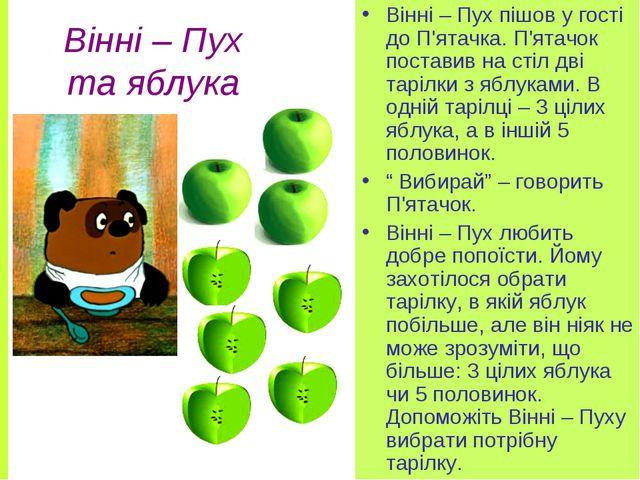 Вінні – Пух та яблука Вінні – Пух пішов у гості до П'ятачка. П'ятачок постави...