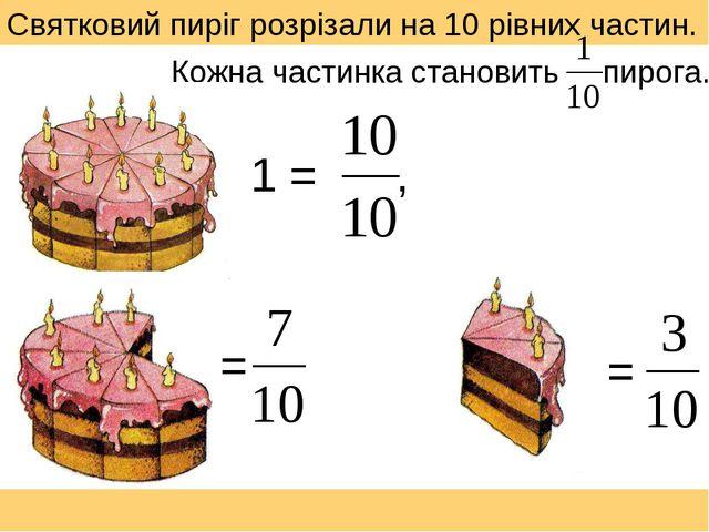 Святковий пиріг розрізали на 10 рівних частин. 1 = , = = Кожна частинка стано...
