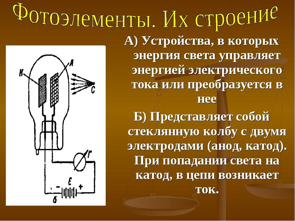 А) Устройства, в которых энергия света управляет энергией электрического тока...