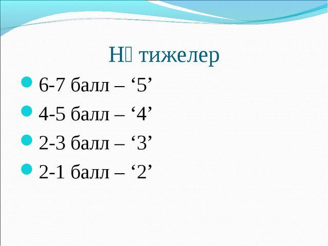 Нәтижелер 6-7 балл – '5' 4-5 балл – '4' 2-3 балл – '3' 2-1 балл – '2'