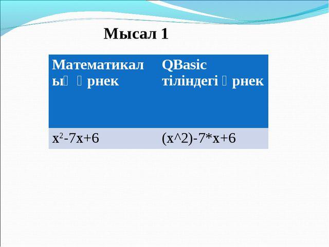 Мысал 1 Математикалық өрнек QBasic тіліндегі өрнек x2-7x+6 (x^2)-7*x+6