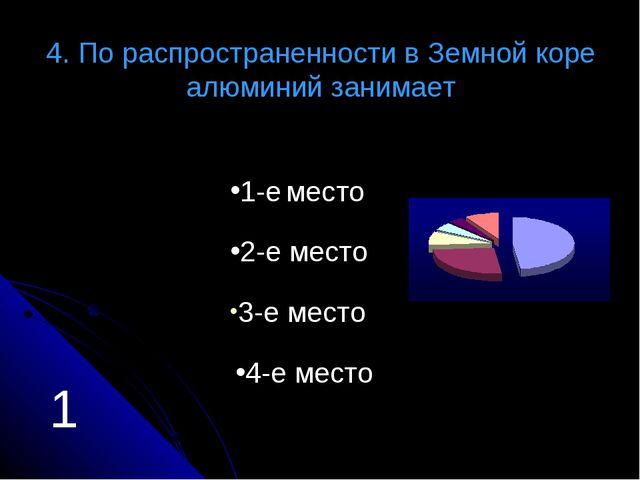 4. По распространенности в Земной коре алюминий занимает 1-е место 2-е место...
