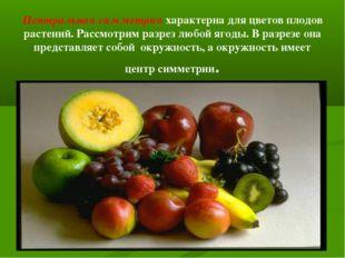 Центральная симметрия характерна для цветов плодов растений. Рассмотрим разре