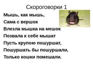 Скороговорки 1 Мышь, как мышь, Сама с вершок Влезла мышка на мешок Позвала к