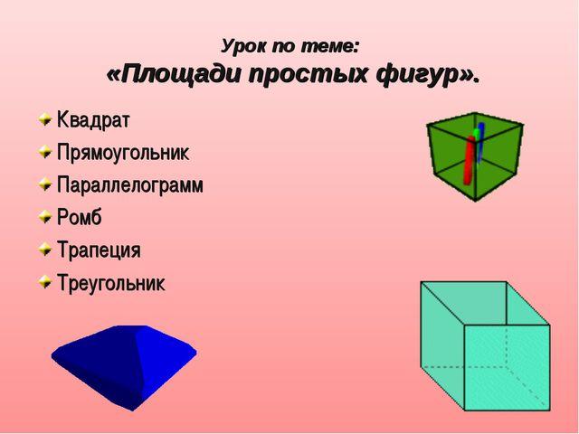 Урок по теме: «Площади простых фигур». Квадрат Прямоугольник Параллелограмм Р...