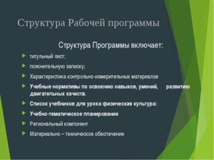 Структура Рабочей программы Структура Программы включает: титульный лист; поя