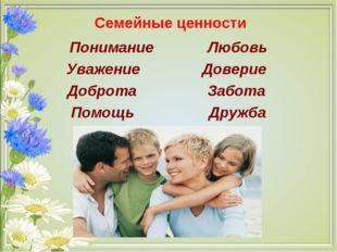 Семейные ценности Понимание Любовь Уважение Доверие Доброта Забота Помощь Др