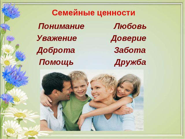 Семейные ценности Понимание Любовь Уважение Доверие Доброта Забота Помощь Др...