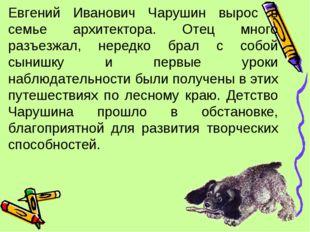 Евгений Иванович Чарушин вырос в семье архитектора. Отец много разъезжал, нер