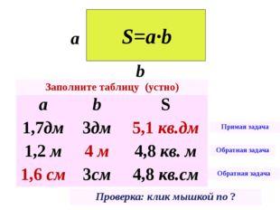 a b S=a∙b a b S 1,7дм 3дм ? 5,1кв.дм 1,2м ? 4,8кв. м 4м ? 3см 4,8кв.см 1,6см