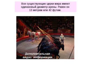 Все существующие цирки мира имеют одинаковый диаметр арены. Равен он 13 метра