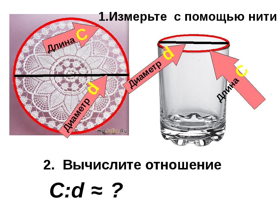 Длина С Диаметр d Длина С Диаметр d 2. Вычислите отношение C:d 1.Измерьте c...