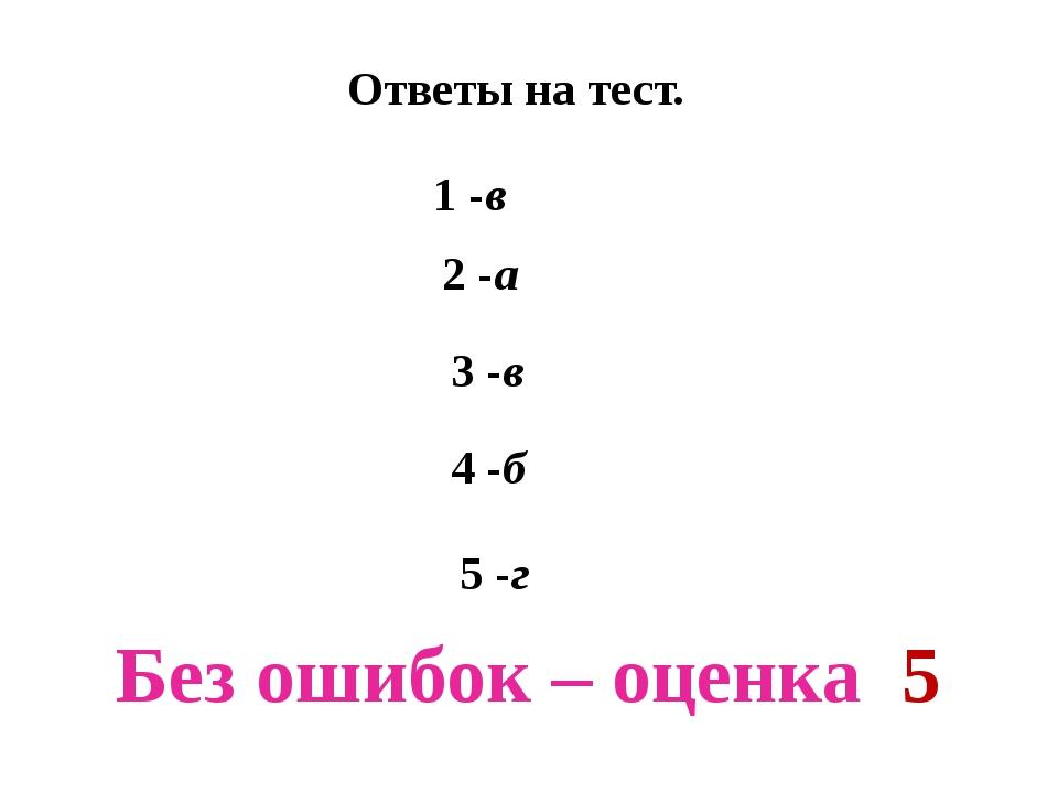 Ответы на тест. 1 -в 2 -а 3 -в 4 -б 5 -г Без ошибок – оценка 5
