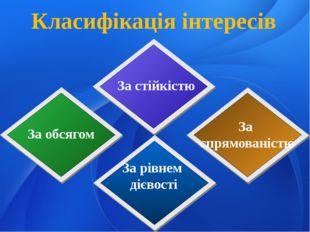 Класифікація інтересів За стійкістю За обсягом За спрямованістю За рівнем діє