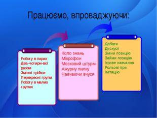 Працюємо, впроваджуючи: Роботу в парах Два-чотири-всі разом Змінні трійки Пер