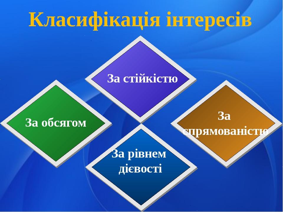 Класифікація інтересів За стійкістю За обсягом За спрямованістю За рівнем діє...