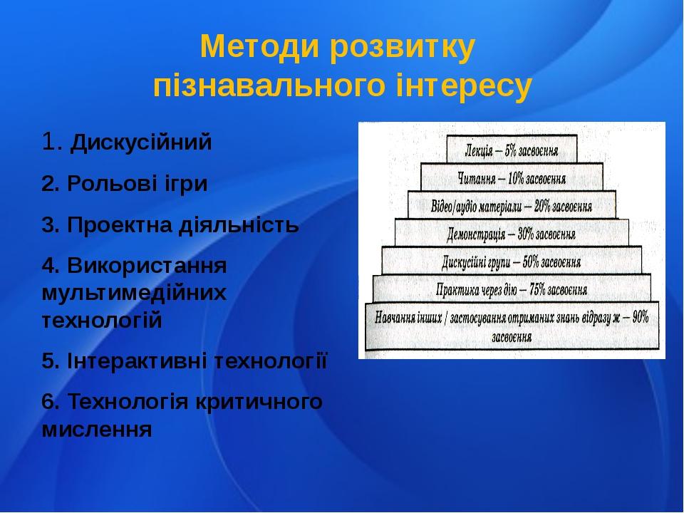 Методи розвитку пізнавального інтересу 1. Дискусійний 2. Рольові ігри 3. Прое...