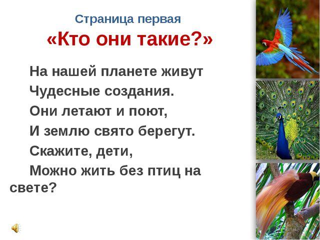 Страница первая «Кто они такие?» На нашей планете живут Чудесные создания. Он...