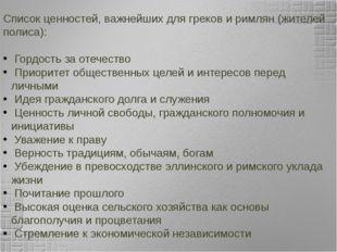 Список ценностей, важнейших для греков и римлян (жителей полиса): Гордость за