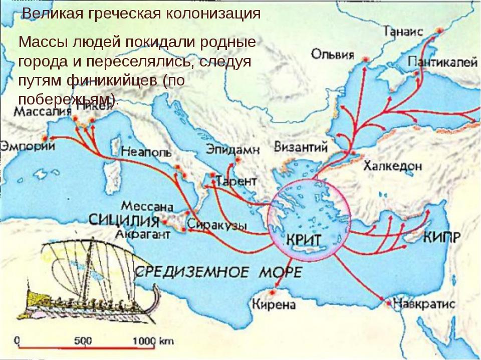 Великая греческая колонизация Массы людей покидали родные города и переселяли...