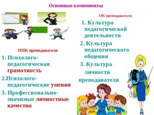 Основные компоненты ППК преподавателя 1. Психолого-педагогическая грамотность