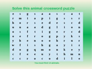 You must find 14 animals. Solve this animal crossword puzzle e s g s a a s c