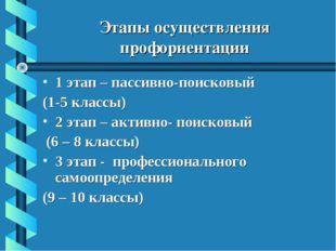 Этапы осуществления профориентации 1 этап – пассивно-поисковый (1-5 классы) 2